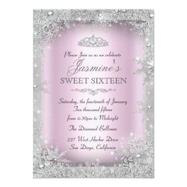 Small Silver Winter Wonderland Pink Sweet 16 Invitation Front View