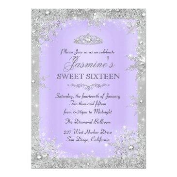 Small Silver Winter Wonderland Purple Sweet 16 Invite Front View