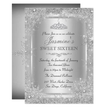 silver winter wonderland sweet 16 invitations