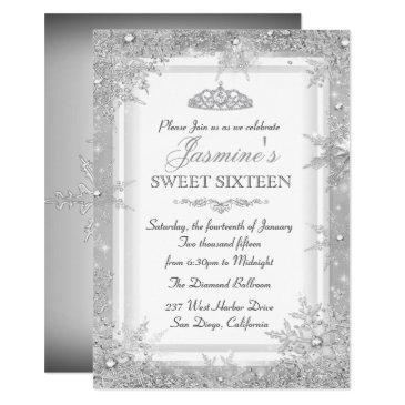 silver winter wonderland sweet 16 invitation