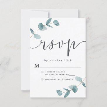 simple eucalyptus frame with calligraphy wedding rsvp invitations