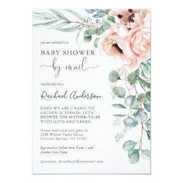 Small Soft Pastel Baby Shower By Mail Invitation Front View