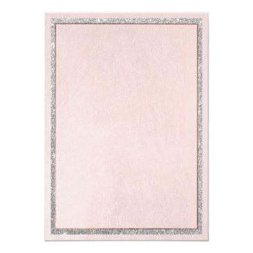 Small Soft Pink Rose Gold Silver Glitter Sweet 16 Invitation Back View