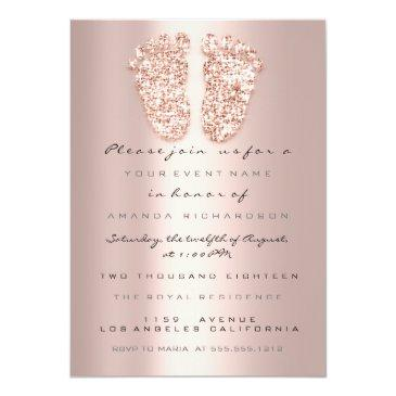 Small Spark Glitter Drips Rose Gold Baby Shower Feet Invitation Front View