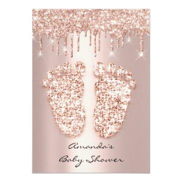 Small Spark Glitter Drips Rose Gold Baby Shower Feet Invitation Back View