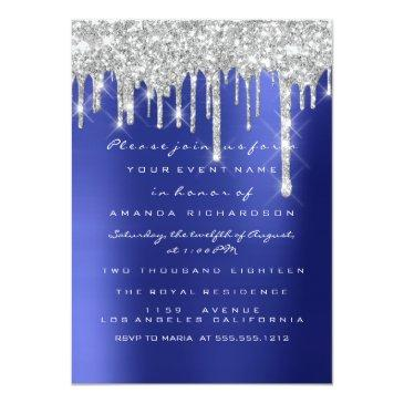 Small Spark Glitter Drips Silver Navy Bridal Sweet 16th Invitation Front View