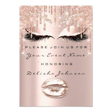 spark sweet 16th drips glitter bridal makeup lips invitations