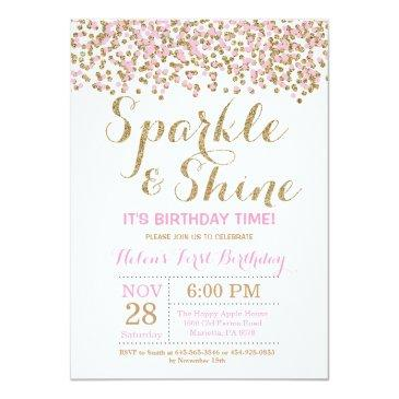 sparkle and shine pink gold birthday invitation