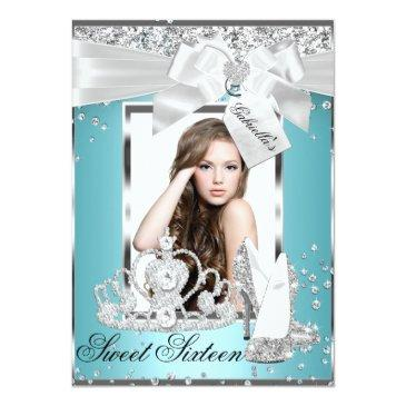 Small Sparkle Bow Tiara Photo Sweet 16 Invitation Front View