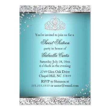 Small Sparkle Bow Tiara Photo Sweet 16 Invitation Back View