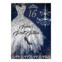 sparkle diamond dress navy silver sweet 16 invitation