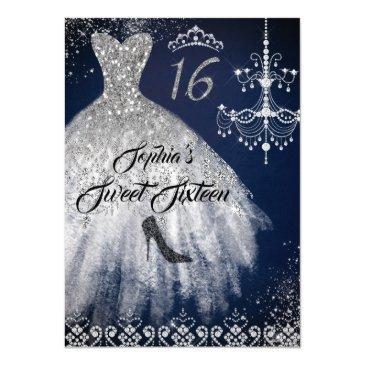 sparkle diamond dress navy silver sweet 16 invitation