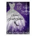 sparkle diamond dress purple silver sweet 16 invitation