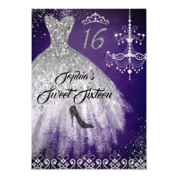 sparkle diamond dress purple silver sweet 16 invitation