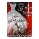sparkle diamond dress red silver black sweet 16 invitation