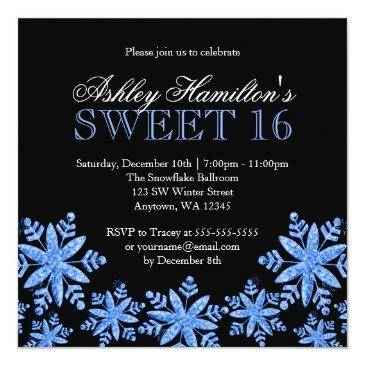 Small Sparkle Snowflakes Blue Sweet 16 Winter Wonderland Invitations Front View