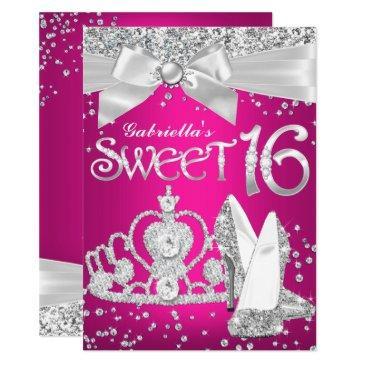 sparkle tiara & heels sweet 16 invite hot pink