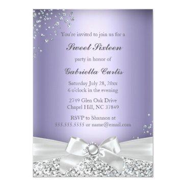 Small Sparkle Tiara & Heels Sweet 16 Invite Purple Back View