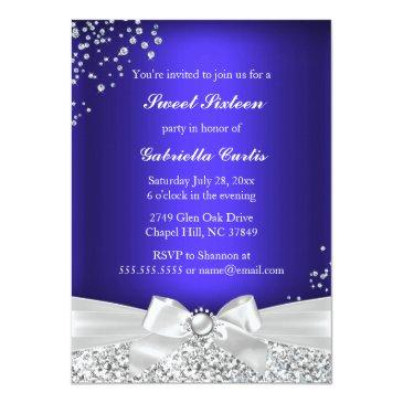 Small Sparkle Tiara & Heels Sweet 16 Invite Royal Blue Back View