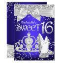 sparkle tiara & heels sweet 16 royal blue purple invitation