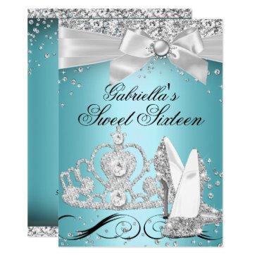sparkle tiara heels teal sweet 16 invitations