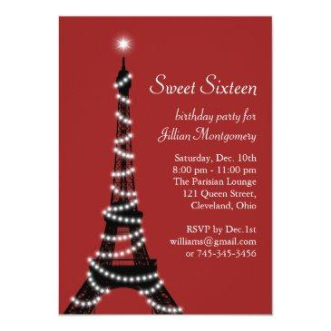 sparkling eiffel tower in red invitation