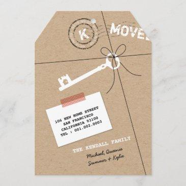 stamped monogram package & key house warming party invitation