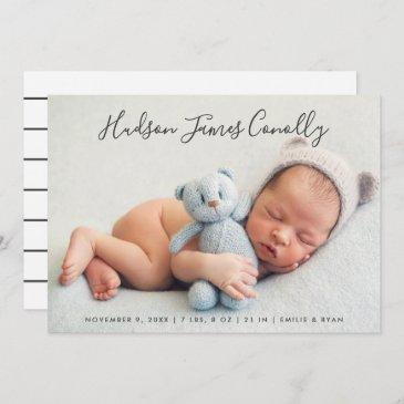 standout name modern script baby boy photo birth announcement
