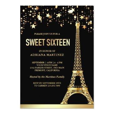 Small Star Confetti Gold Foil Eiffel Tower Sweet Sixteen Invitation Front View
