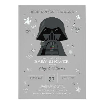 Small Star Wars | Darth Vader Baby Shower Invitation Front View
