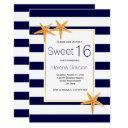starfish and stripes beach sweet sixteen birthday invitation