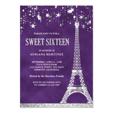 Small Stars Confetti Silver Eiffel Tower Sweet 16 Invitation Front View