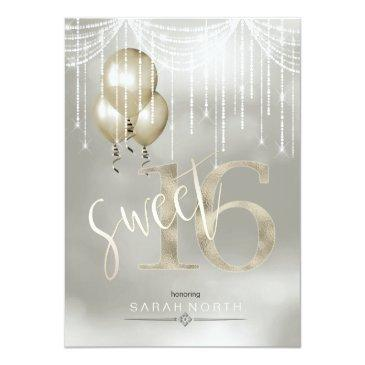 Small String Lights & Balloons Sweet 16 Champagne Id473 Invitations Front View