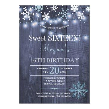Small String Lights Snowflakes Chic Winter Sweet Sixteen Invitations Front View