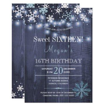 string lights snowflakes chic winter sweet sixteen invitation