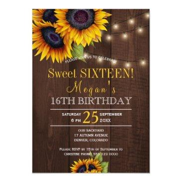 Small String Lights Sunflowers Chic Rustic Sweet Sixteen Invitations Front View