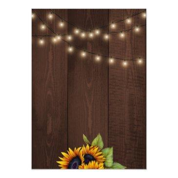 Small String Lights Sunflowers Chic Rustic Sweet Sixteen Invitations Back View