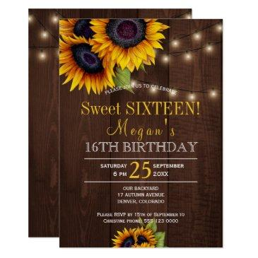 string lights sunflowers chic rustic sweet sixteen