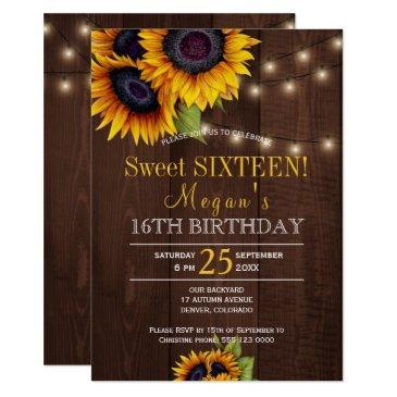 string lights sunflowers chic rustic sweet sixteen invitations