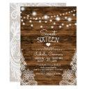 string lights wood and lace sweet 16 party invitation