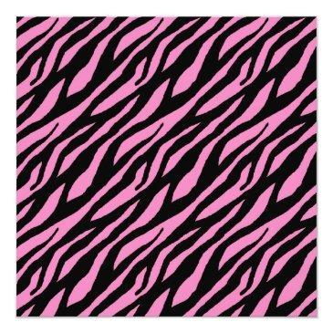 Small Stylish Zebra Pattern Sweet Sixteen Party Invitations Back View