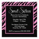 stylish zebra pattern sweet sixteen party invitations