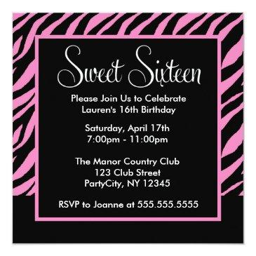 stylish zebra pattern sweet sixteen party invitation