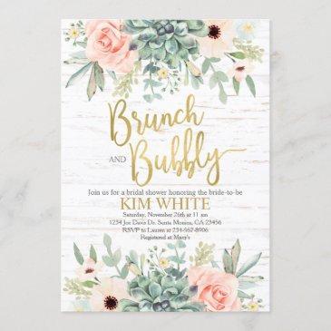 succulents bridal shower brunch invitation