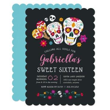 sugar skulls day of the dead theme sweet sixteen invitation