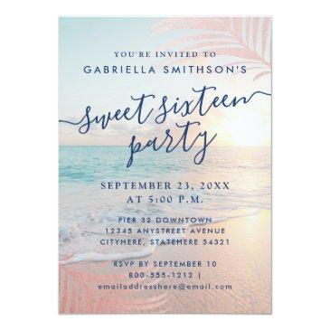 Small Summer Beach Pink Sunset Tropical 16th Birthday Invitation Front View