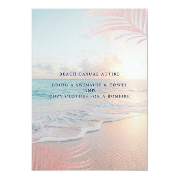 Small Summer Beach Pink Sunset Tropical 16th Birthday Invitation Back View