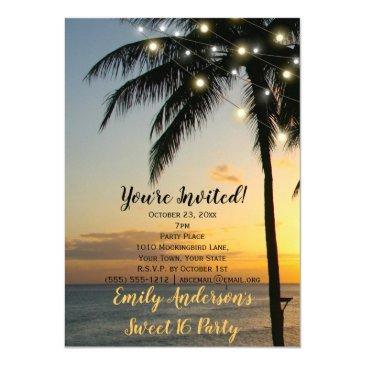 summer beach string light sunset sweet 16 birthday invitation
