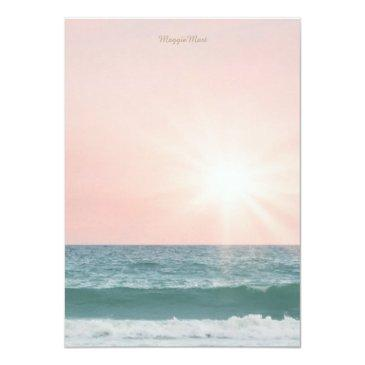 Small Summer Beach Theme Pink Sunset Sweet 16 Birthday Invitations Back View