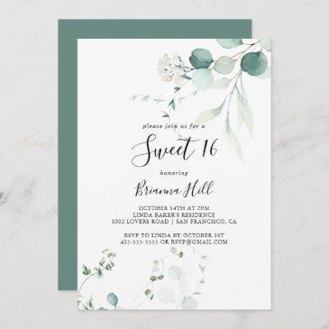 summer green eucalyptus sweet 16 birthday party invitation